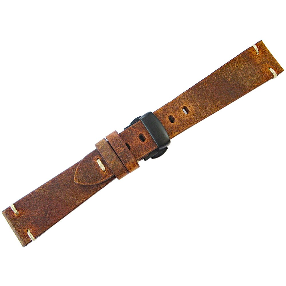 ColaReb 22mm Firenze Rust Brown Leather Watch Strap PVD Deployant