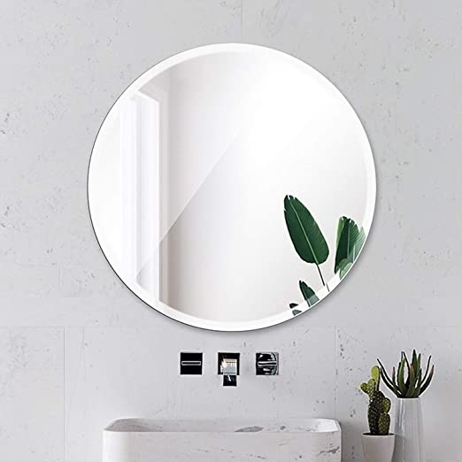 Amazon Com Beauty4u Round Beveled Frameless Wall Mirrors 24 Diameter Vanity Make Up For Bathroom Bedroom Wall Decor Furniture Decor