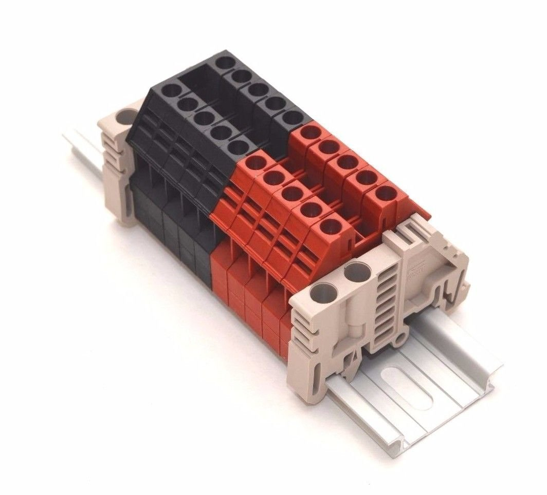 Dinkle Assembly DK4N Red/Black 10 Gang DIN Rail Terminal Blocks, 10-22 AWG, 30 Amp, 600 Volt