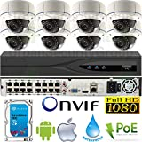 USG 4MP 8 Camera HD Security System : 12MP 32 Channel NVR with 16x RJ45 PoE Ports + 8x 4MP 2.8-12mm PoE IP Dome Cameras + 1x 4TB HDD : High Definition Video Surveillance : Face + Perimeter Detection