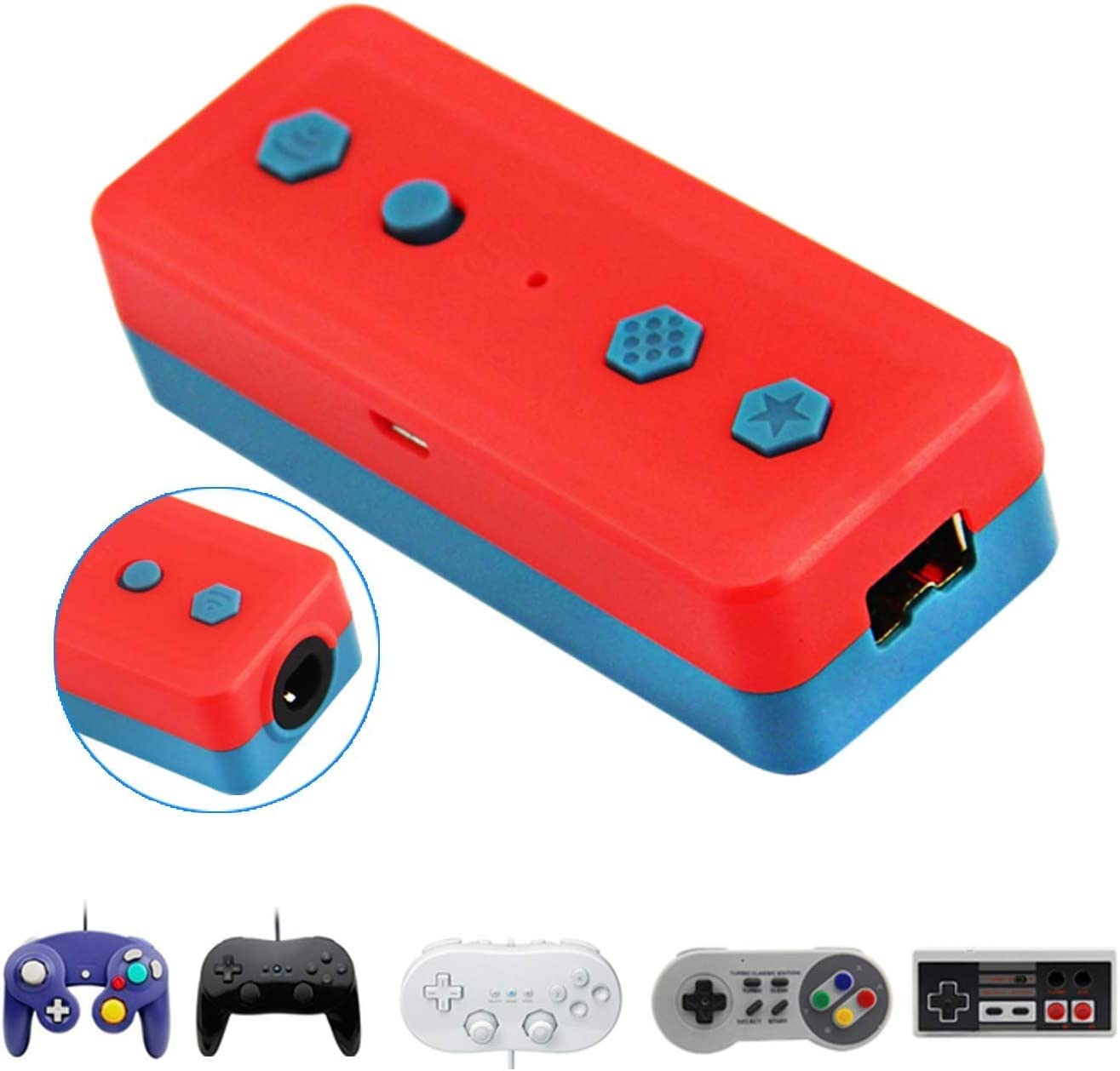 Wireless Bluetooth Adapter for Nintendo Switch & PC Windows, Works with Gamecube NGC Controller, NES/SNES/Wii Classic Controller & Other Same Wii Port Controllers