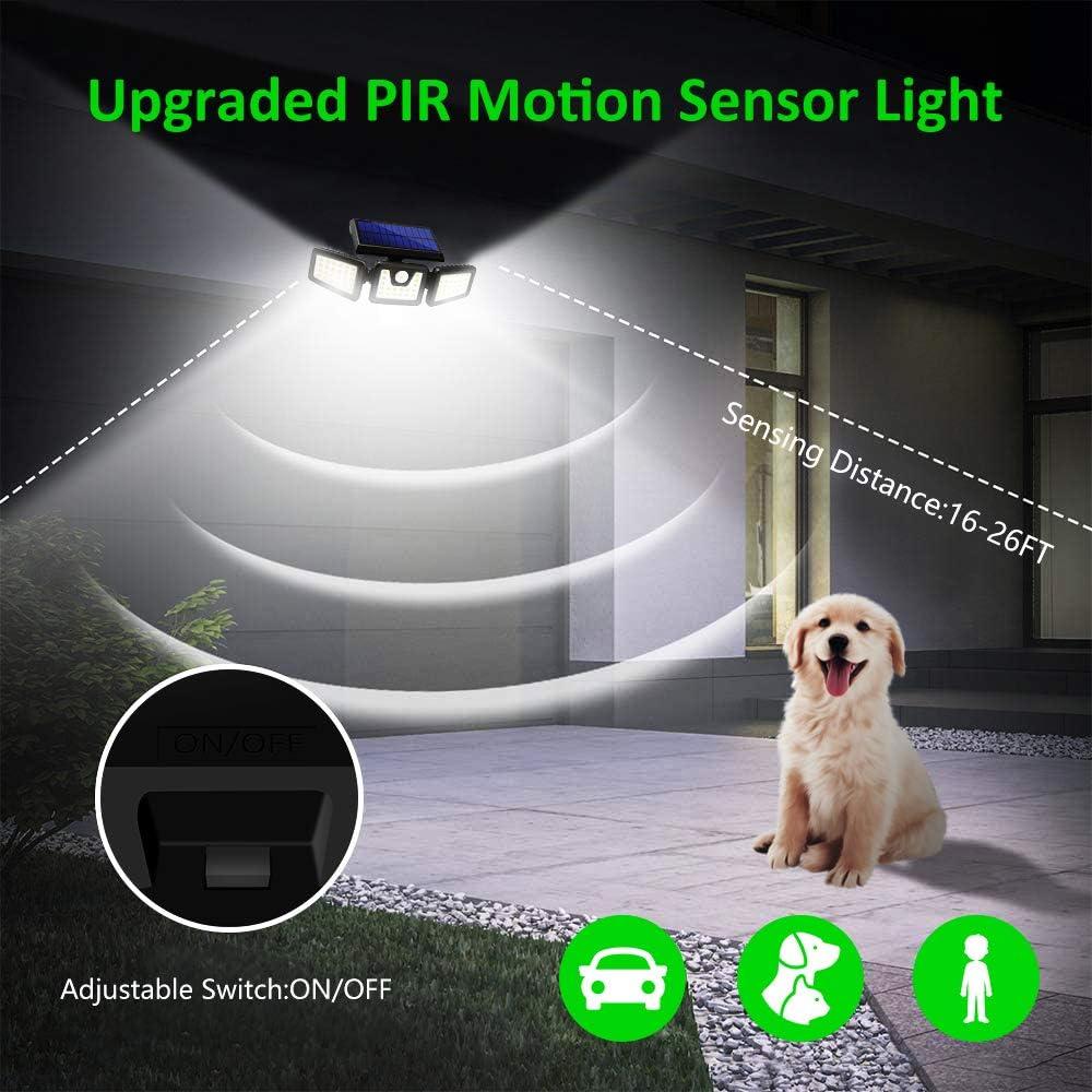 2 Pack Harmonic Solar Motion Sensor Lights Outdoor,70 LED Solar Security Lights Outdoor,Adjustable 3 Heads,/IP65 Waterproof,800LM Flood Light for Yard,Garage,Garden,Patio