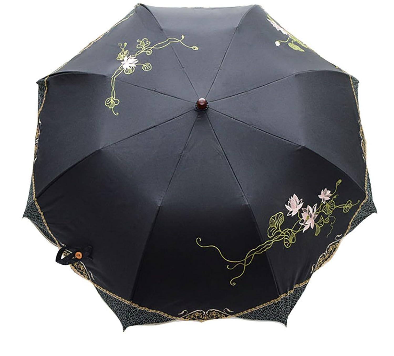 日傘 女優日傘 ショート日傘 完全遮光 遮熱 UVカット かわず張り 涼しい 晴雨兼用傘 特殊2重張り 蓮花 刺繍 B07CR9G5F7  ブラック