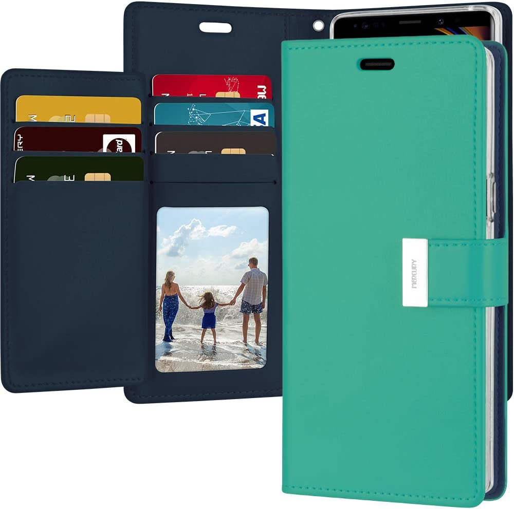 Goospery Rich Wallet for Samsung Galaxy Note 9 Case (2018) Extra Card Slots Leather Flip Cover (Mint) NT9-RIC-MNT