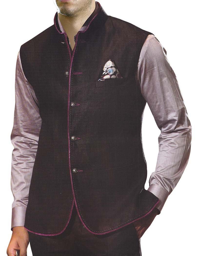 INMONARCH Mens Black Linen Vest For Travel 5 Button NV40XL54 54 X-Long Black
