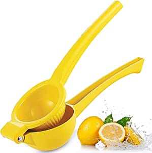 Metal Lemon Squeezer Juicer, Easy Clean Orange Citrus Manual Press Fruit Juicer for Kitchen Party Cocktail Mocktail Drink (Yellow)