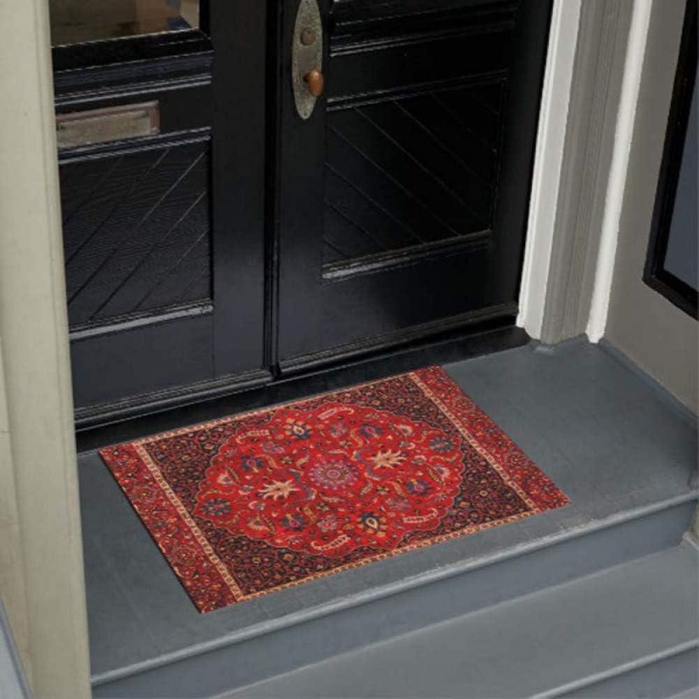 OEWFM Doormat Personality Antique Persian Door Mat Home Decoration Entry Non slip Door Mat Rubber Washable Floor Carpet-60x90cm