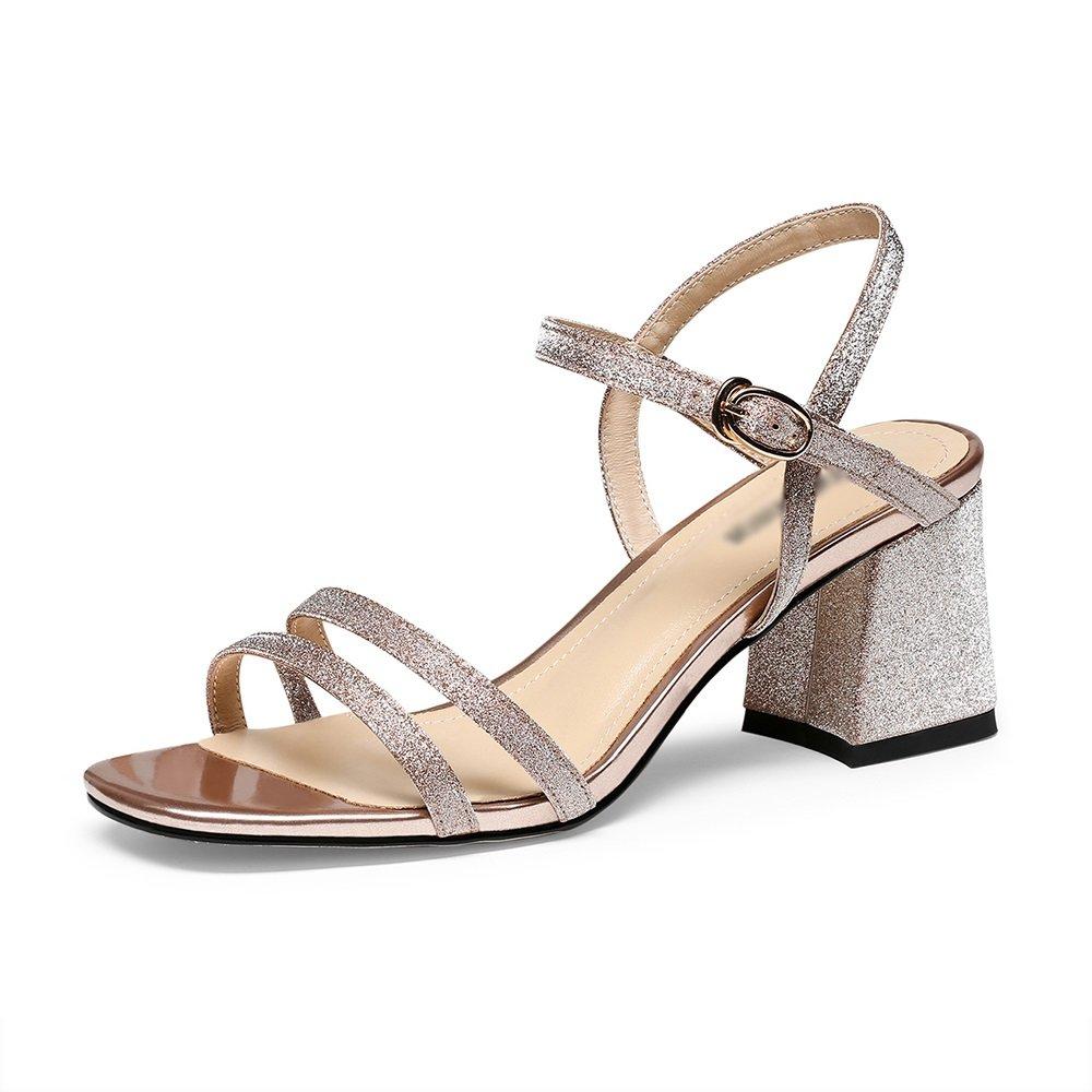 GYHDDP Sandalias para Mujer de Tacón bajo, Sandalias de Tacón Alto \ Sandalias de Tiras \ Sandalias de Moda de Verano 36 EU|B