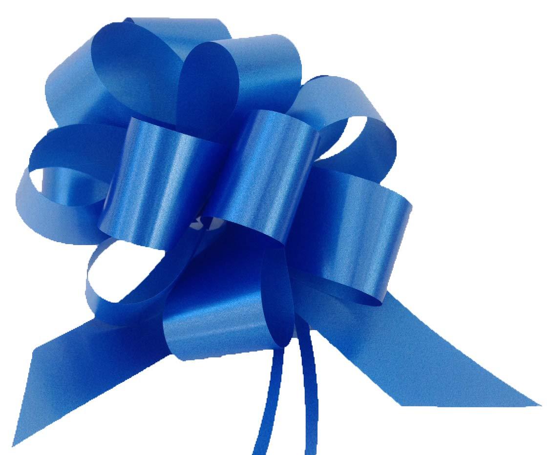 Confezione da 50 coccarde autotiranti blu gran fiocco autotirante da antenna specchietto auto, nastro da 5 cm, lunghezza 150 cm per feste, diametro coccarda 16 cm, feste, matrimonio, eventi Easy Media