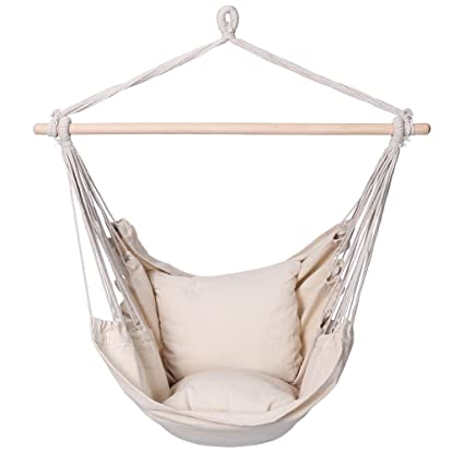 Bon Finether Padded Hammock Hanging Chair Swing With Pillow Set For Indoor  Outdoor Use, 265 Lbs