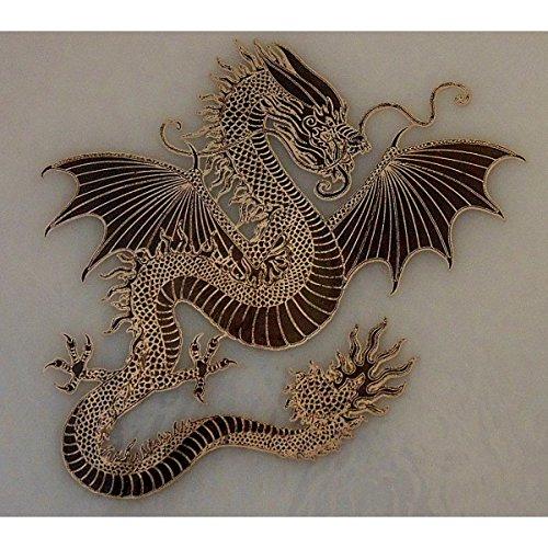 Large Dragon Silver Metallic & Black Fusible Enamel Decal for - Enamel Black Decal Fusible