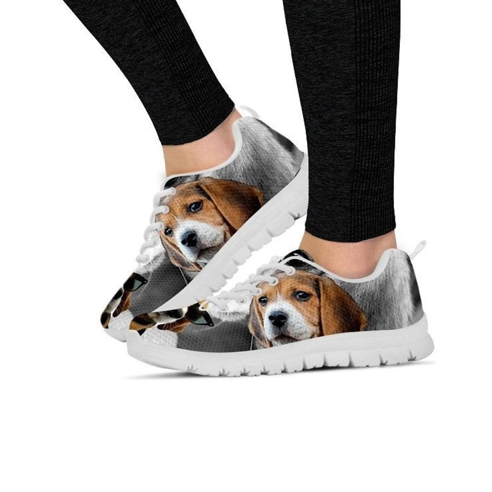 Print Casual Running Shoes for Women E/&E Solutions Beagle Dog with Glasses Sneakers