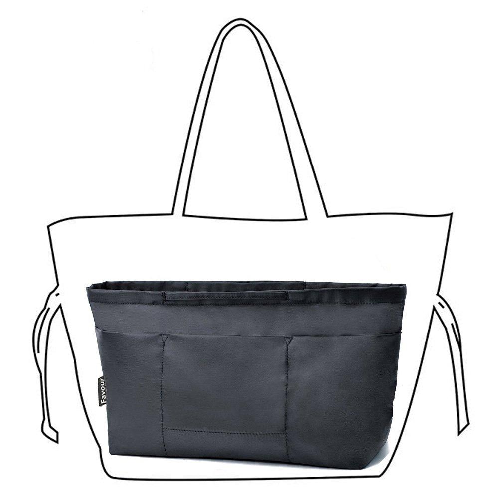 Insert Bag Organizer, Bag in Bag for Handbag Purse Organizer (Medium, Black)