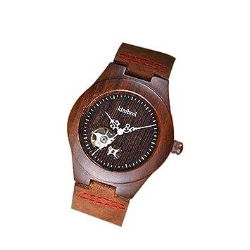 Elenxs impermeable hombres mecánico automático relojes (madera natural de ébano reloj de pulsera rojo negro: Amazon.es: Electrónica