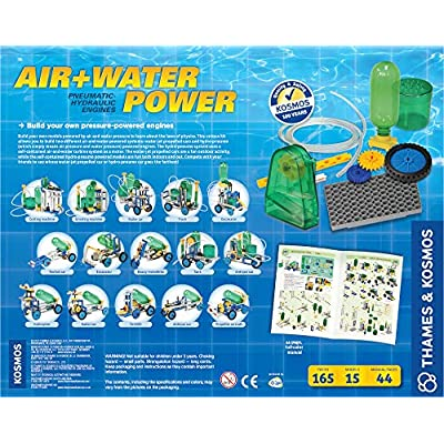 Thames & Kosmos Air + Water Power | Build 15 Pneumatic & Hydraulic Models | Powered by Air + Water | 48 Page Full Color Experiment Manual | Science & Engineering Kit: Thames&Kosmos: Toys & Games