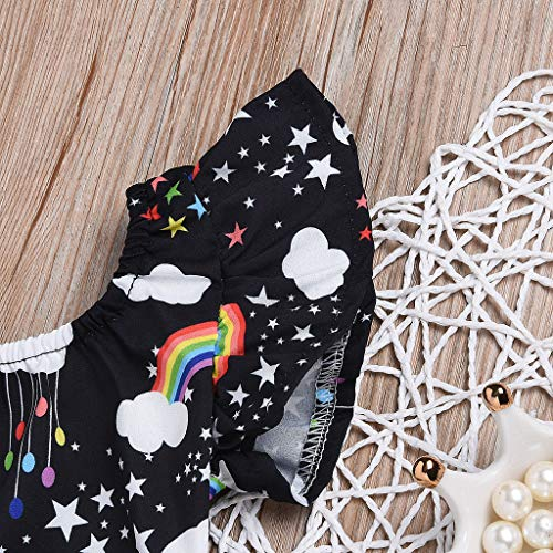 NUWFOR Infant Baby Kid Newborn Cartoon Rainbow Printed Ruffle Romper Bodysuit Outfits(Black,3-6Months) by NUWFOR (Image #3)