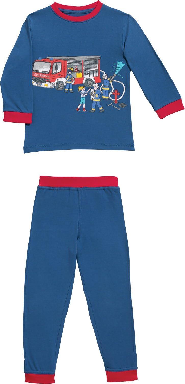 mit Rundumgummizug Pyjama Feuerwehr Single-Jersey Marine//rot Gr/ö/ße 74//80-100/% Baumwolle Erwin M/üller Kinder-Schlafanzug hautfreundlich