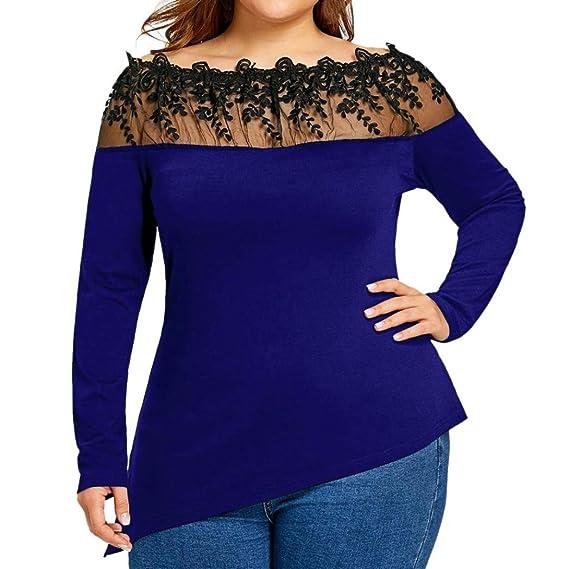 OverDose Camisetas Mujer Blusa Atractivo del V-Cuello Jersey con ...