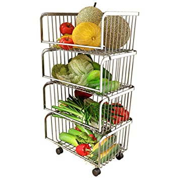 Estante De Cocina De Acero Inoxidable Cuarto De Verduras Y Frutas En Forma De Carro De 4 Capas Sala De Estar Estante De Almacenamiento MóVil: Amazon.es: ...