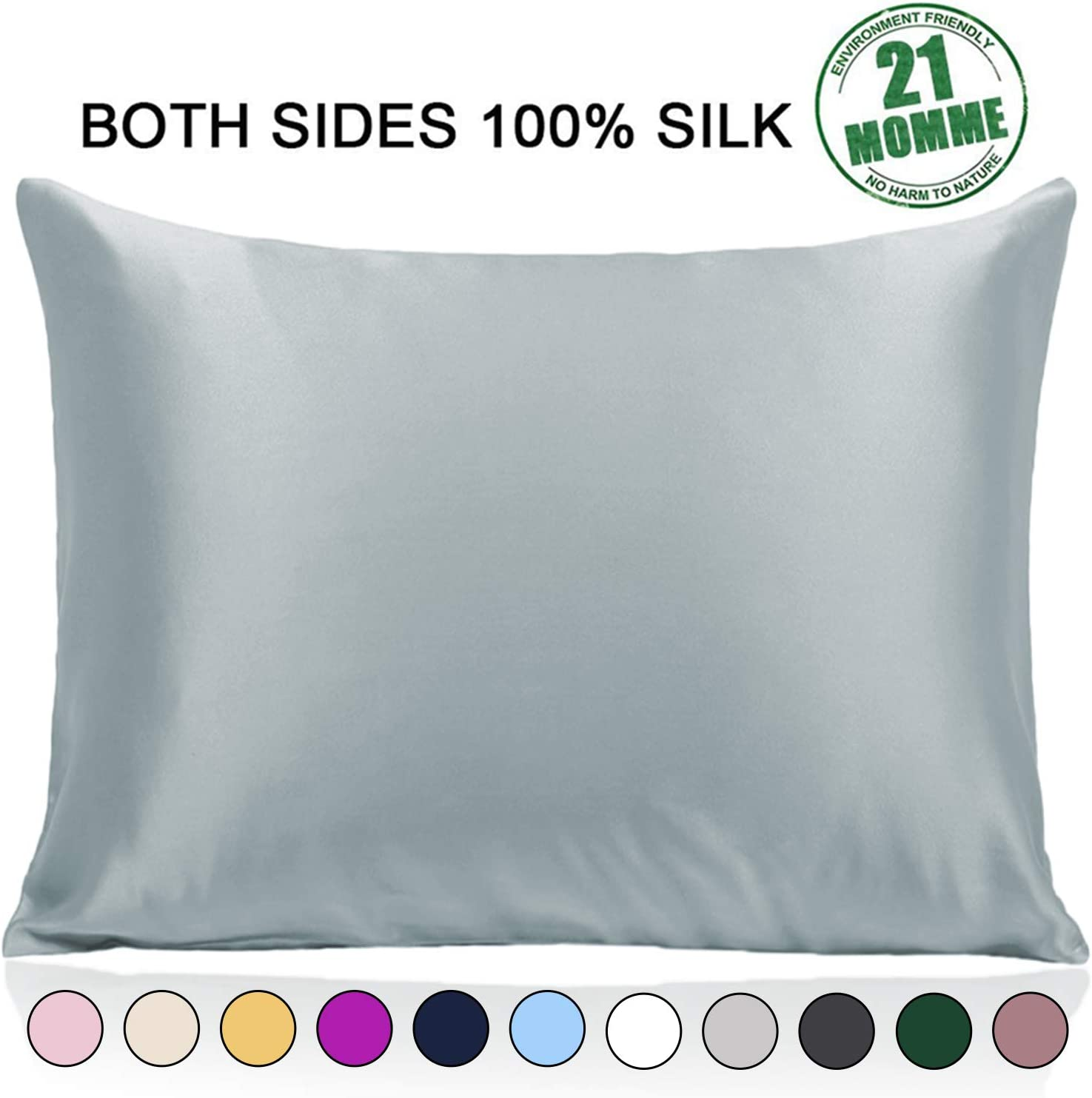 Ravmix 100% Pure Mulberry Silk Pillowcase Standard Size For Hair And Skin With Hidden Zipper, 21 Momme 600tc Hypoallergenic Soft Breathable Both Sides Silk Pillow Case, 20×26inch, Aqua Green Home & Kitchen