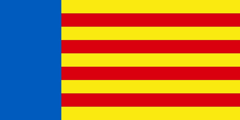 magFlags Bandera Large Versión simplificada de la Bandera de la Comunidad Valenciana | Bandera Paisaje | 1.35m² | 80x160cm: Amazon.es: Jardín