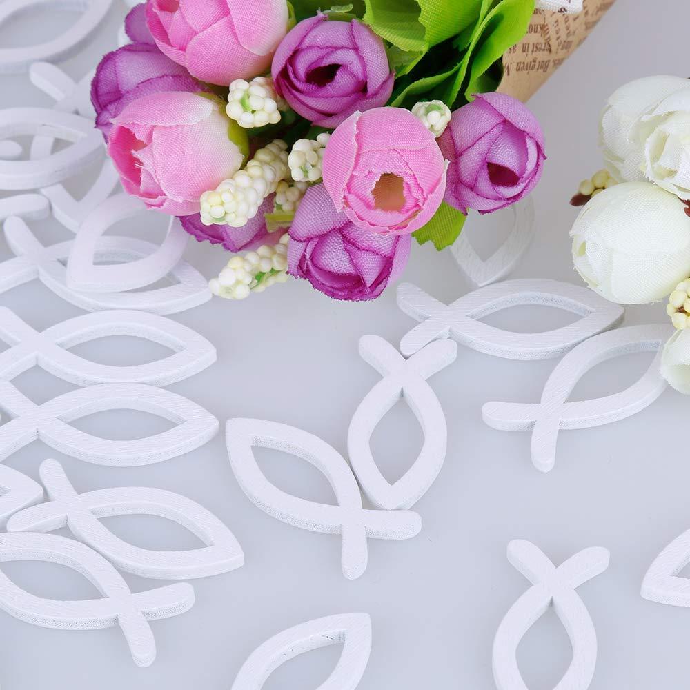 Amaoma Pesci in Legno da Appendere Decorazione Legno a Forma Pesce Ciondoli Decorazioni per Matrimoni Battesimo Confetti Comunione Forniture Artigianali per Pesci in Legno 100 Pezzi Bianco