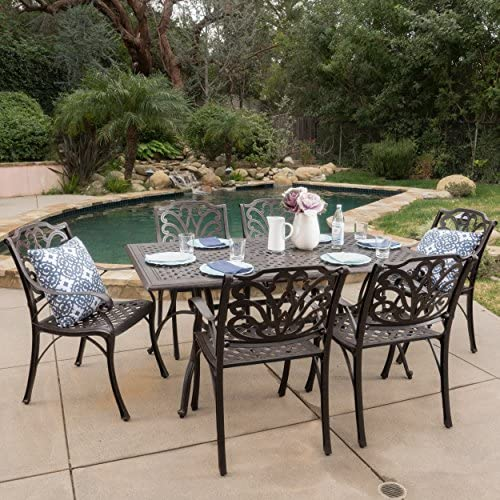 Christopher Knight Home Calandra | 7 Piece Cast Aluminum Outdoor Rectangular Dining Set | Perfect