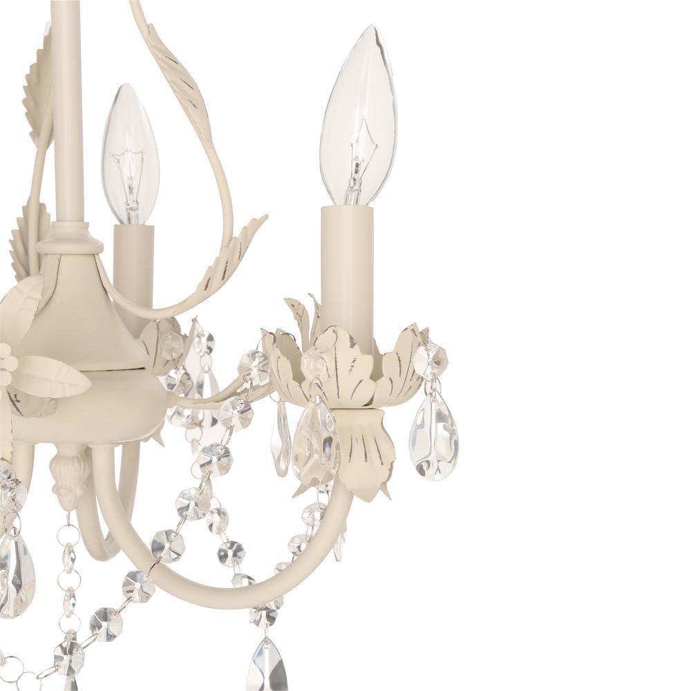 Kristin 3 Light Antique White Hanging Mini Chandelier