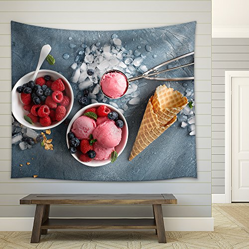 Raspberry Ice Cream in White Bowl Overhead Shot Fabric Wall Tapestry