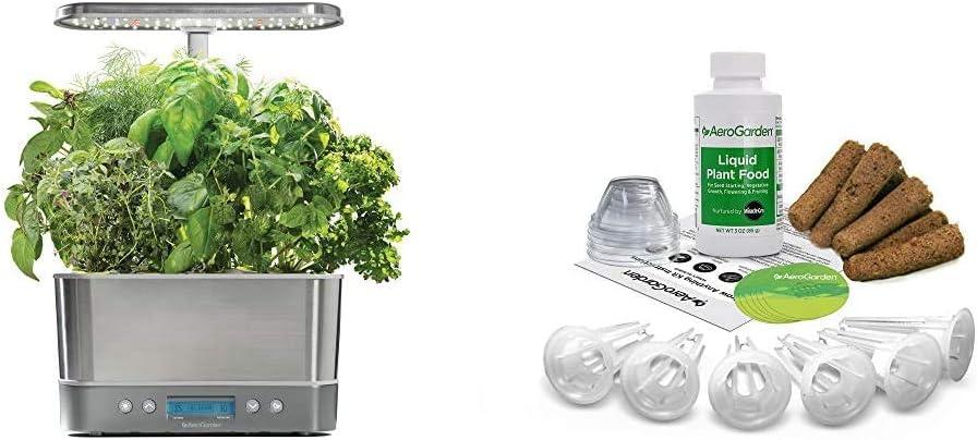AeroGarden Harvest Elite - Stainless Steel & Grow Anything Seed Pod Kit (6 pod)