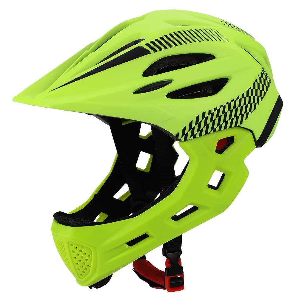 LYgMV 青年及び子供のための360度の慰めシステムが付いている調節可能な軽量のマイクロシェルの自転車のヘルメット(18-22インチ)  Green B07QGDZ9LK