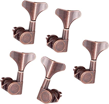 Zinc Alloy 1 for Right, 4 for Left 5Pcs Bass Machine Heads Sealed Tuning Key Pegs Tuners Replacement for Electric Bass Instruments