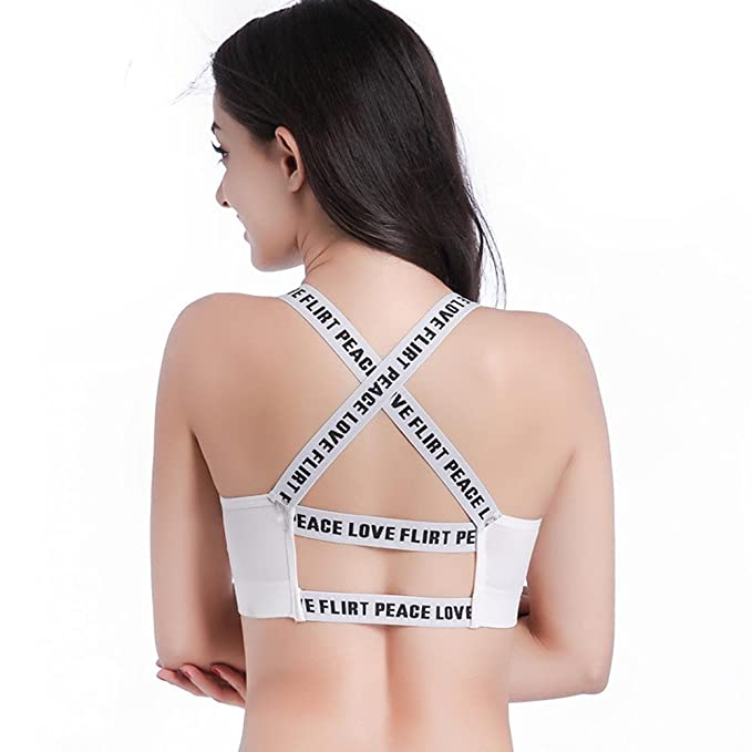 SKY Mujeres impresas carta Push Up Yoga Yoga sujetador sujetador Tank Tops (Blanco)