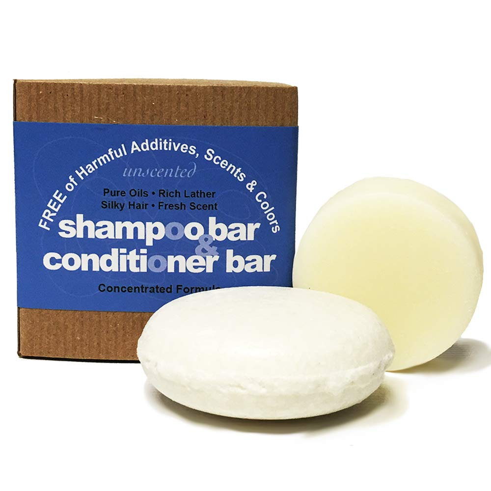 Whiff Shampoo Bar & Conditioning Bar, Unscented: Rich lather, Pure oils, Limited Ingredients, FREE from Harmful Additives, Fragrances, and Colorings; Concentrated formula