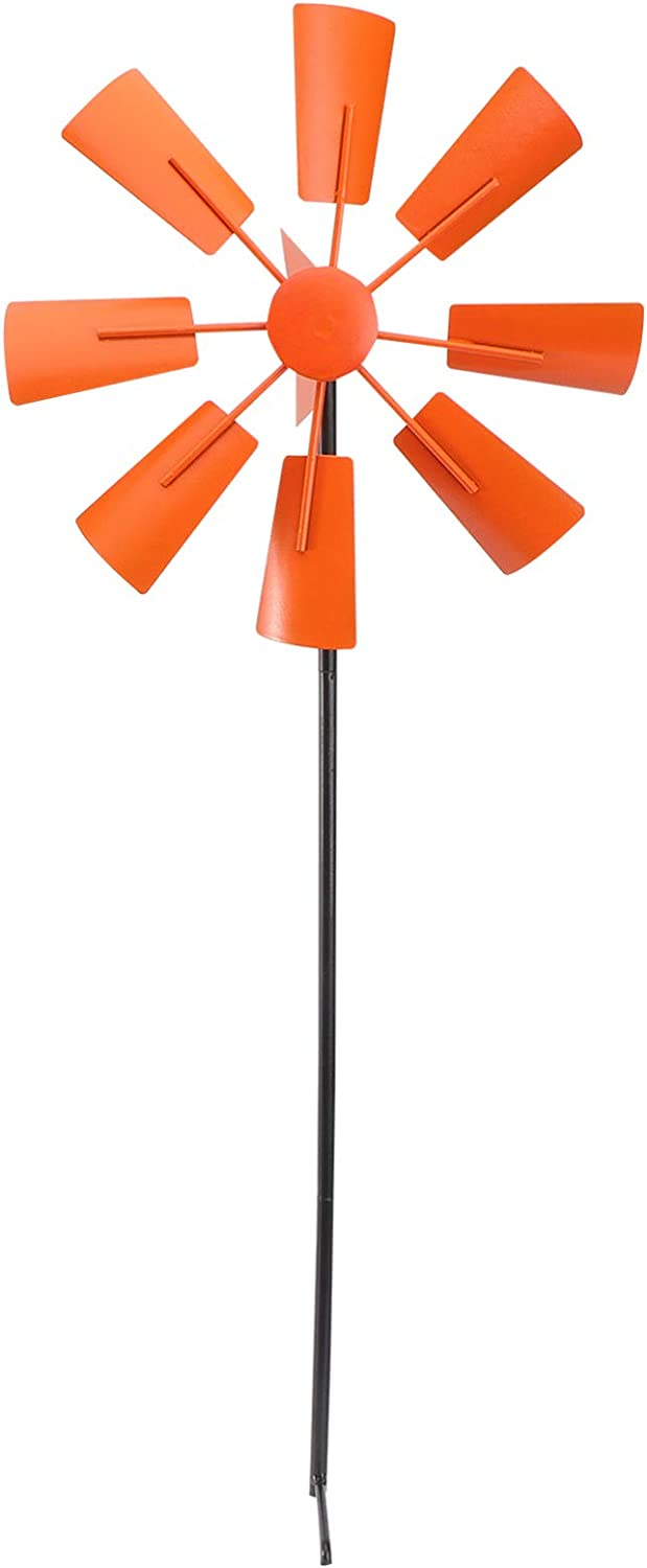 Hemoton Iron Wind Spinners Decorative Lawn Pinwheels for Patio Yard Garden Courtyard Ground Stake Party Decor Windmill Kids Toy Ornament Orange