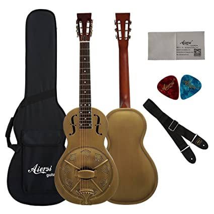 44df0f1309 Vintage Golden Bell Finish Single Cone Brass Body Parlour Acoustic  Resonator Guitar With Case,Strap and Picks: Amazon.ca: Musical Instruments,  ...