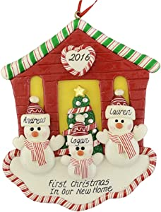First Christmas in Our New House for Family of 3 Ornament by Calliope Designs - Handcrafted - 4.5