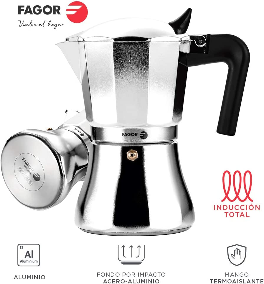 Fagor CUPY. La cafetera CUPY está Fabricada en Aluminio Extra Grueso. Pomo y Mangos Fabricados en Nylon Muy Resistente Toque Frio. Junta de Gran Durabilidad. Compatible con INDUCCIÓN. (6 Tazas): Amazon.es: Hogar