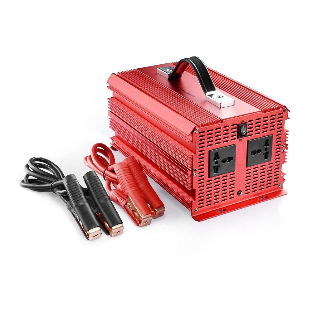BESTEK 2000watt KFZ Spannungswandler 12V auf 230V Auto Wechselrichter Stromwandler 12 auf 230 Umwandler mit T/ÜV Zertifiziert Autobatterieclips Kabel 2000W