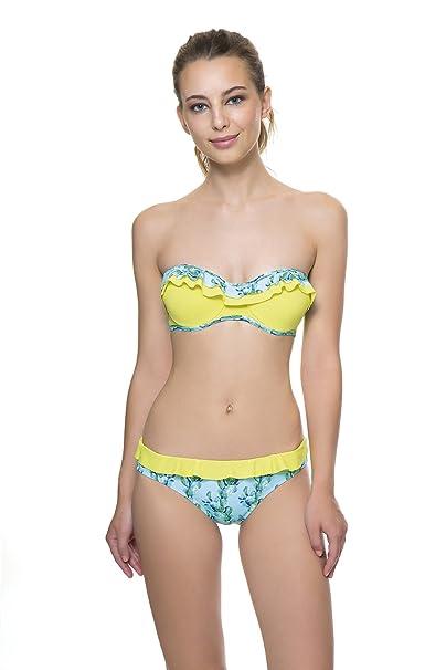 fb80a8fb68ea COCÖA top de bikini con aro y copa B, estilo bandeau sin tirantes ...