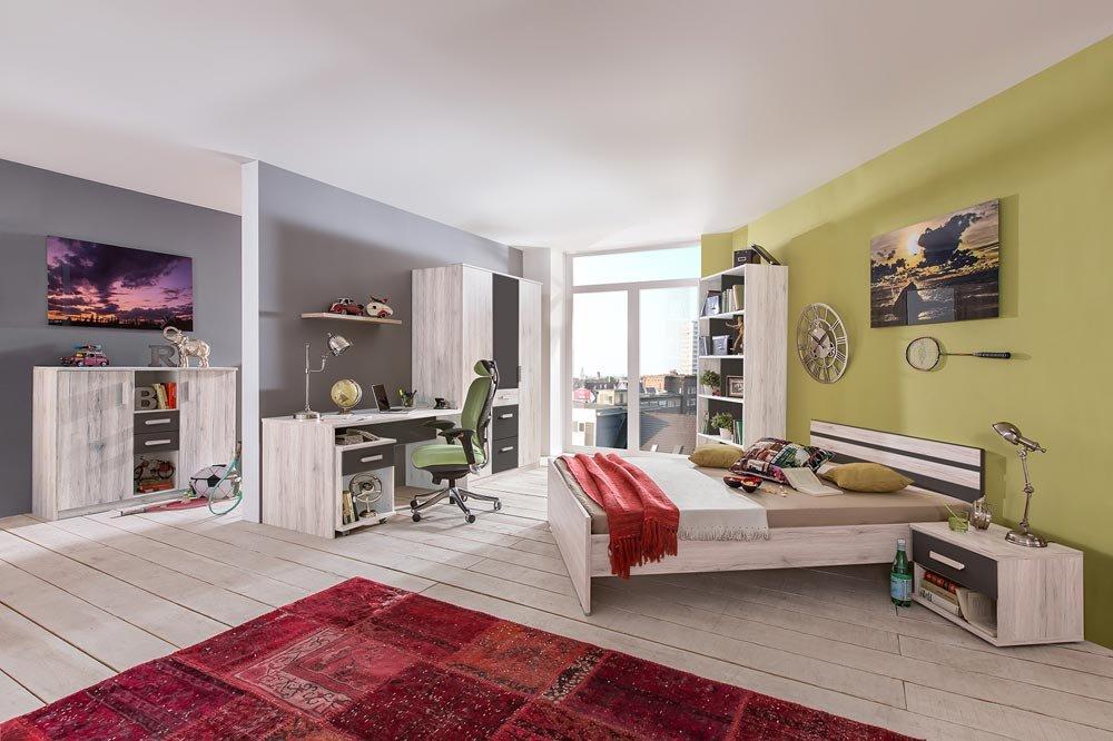 lifestyle4living 3-TLG. Jugendzimmer in Weißeiche-Nachbildung mit Abs. Graphit mit Kleiderschrank (B. ca. 135 cm), Bett (90x200 cm) und Schreibtisch (B: ca. 140 cm)