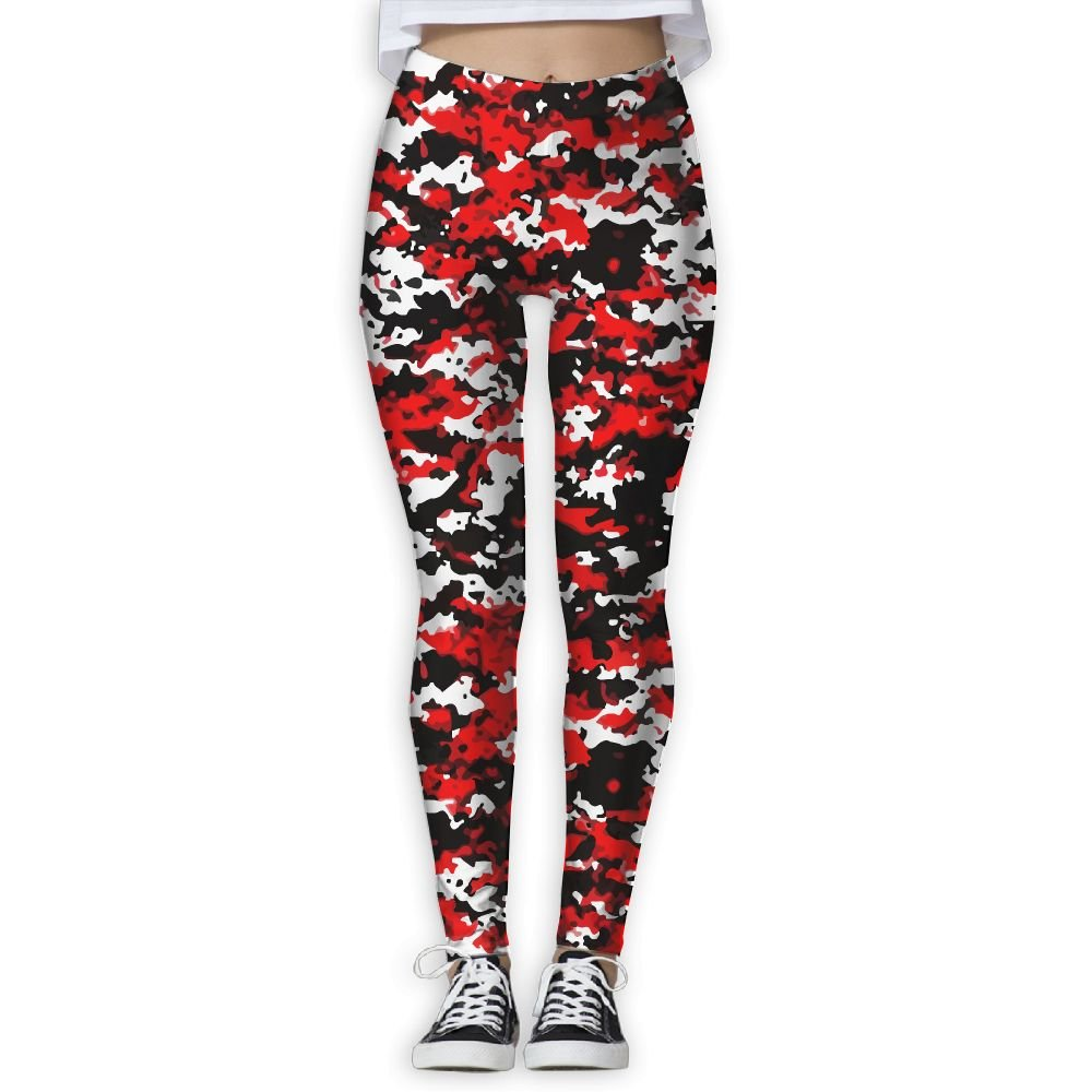 595e31fb144e5 Amazon.com : Red Black Camo Printing Women's Stretchable Sports Running  Yoga Workout Leggings Pants : Sports & Outdoors