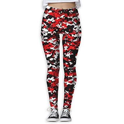 7236838c2444f Red Black Camo Printing Women's Stretchable Sports Running Yoga Workout  Leggings Pants S