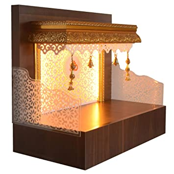 The Mandir Store Designer Wooden Mandir For Home Temple Home Pooja Mandir With Lights Amazon In Home Kitchen
