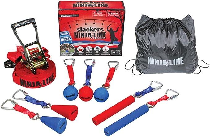 poign/ées en corde cliquet et tapis de protection jusqu/à 180 kg manille HOQ Hangelparcour Ninja Slackline Set avec slackline de 10 m /échelles de p/êche