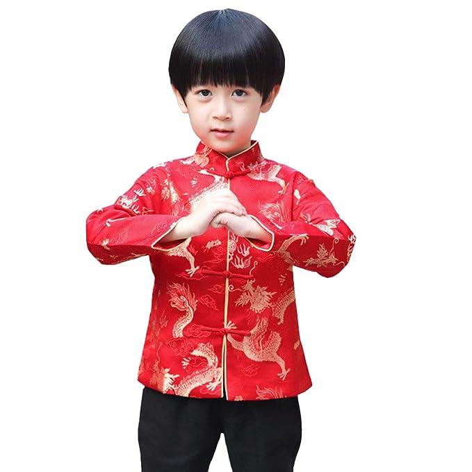 ACVIP Kinder Tang Anzug Jungen Langarm Tops Chinesische Stil