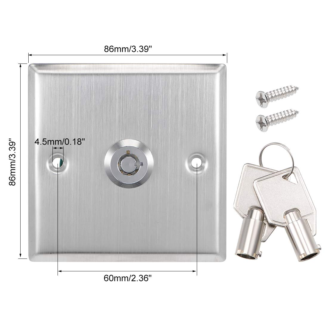 uxcell On//Off Switch Lock Key Switches Emergency Door Release SPST for Access Control Panel Mount with 2 Keys
