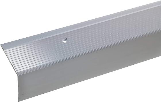 acerto 34013 Perfil angular de escalera de aluminio - 100cm 42x50mm plateado * Antideslizante * Robusto * Fácil instalación | Perfil de borde de escalera perfil de peldaño de escalera de aluminio: Amazon.es: Bricolaje y herramientas