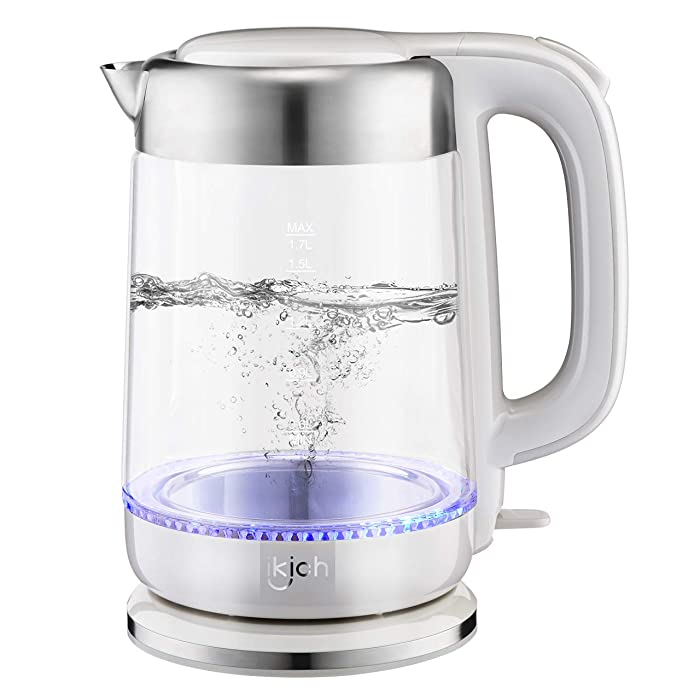 Hot Water Kettle, IKICH 1.7L BPA-Free Electric Kettle 1500W Fast Heating Water Boiler, Cordless Glass Kettle with Led Indicator, Auto Shut-Off & Boil-Dry Protection, 2 Year Warranty