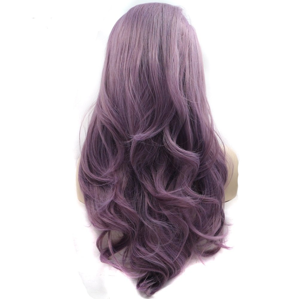 Lucyhairwig Long Wavy Synthetic Lace Front Wig Glueless Purple High Temperature Heat Resistant Fiber Hair Wigs For Women by ELESTY
